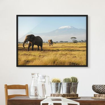 Poster con cornice - Elephants In Front Of The Kilimanjaro In Kenya - Orizzontale 3:4