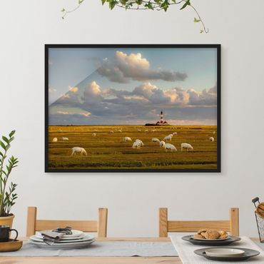 Poster con cornice - North Sea Lighthouse With Sheep Herd - Orizzontale 3:4