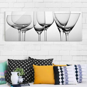 Quadro in vetro - Belle vetro Bianco e nero - Panoramico