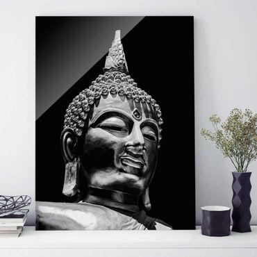 Quadro in vetro - Buddha Statue Viso - Verticale 4:3