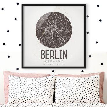 Poster con cornice - Mappa Berlino - Retro