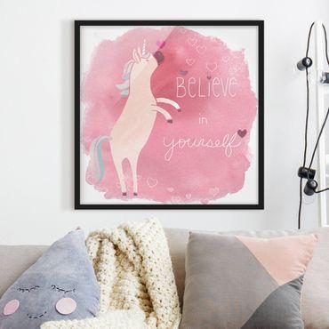 Poster con cornice - Unicorn Troop - Believe - Quadrato 1:1