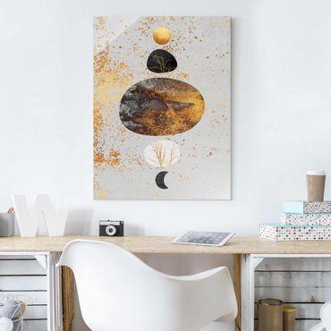 Quadro in vetro - Sole e Luna in oro Luster - Verticale 4:3