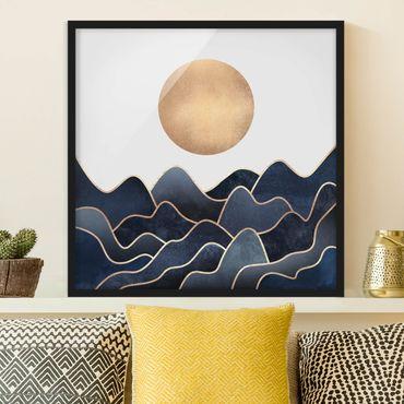 Poster con cornice - Golden Sun Blue Waves - Quadrato 1:1