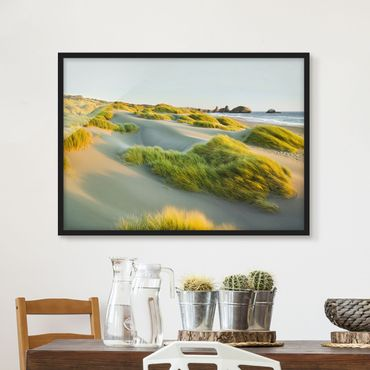 Poster con cornice - Dunes And Grasses At The Sea - Orizzontale 3:4