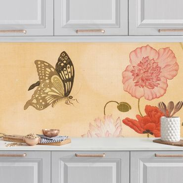 Rivestimento cucina - Yuanyu Ma - Papaveri  e farfalle