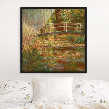 Poster con cornice - Claude Monet - Lo stagno delle ninfee e Ponte giapponese (Armonia in rosa) - Quadrato 1:1
