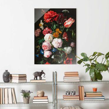 Quadro in vetro - Jan Davidsz De Heem - Natura morta con fiori in un vaso di vetro - Verticale 4:3