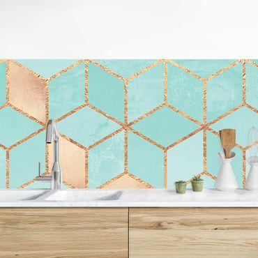 Rivestimenti cucina - Turchese Bianco d'oro Geometria