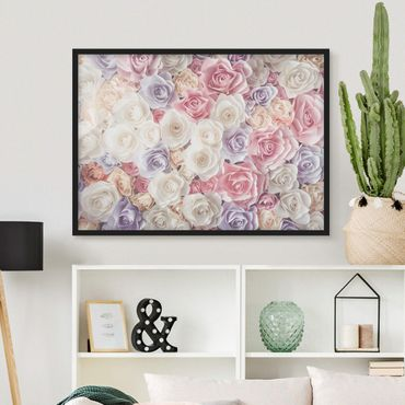 Poster con cornice - Pastel Paper Art Roses - Orizzontale 3:4