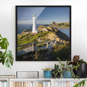 Poster con cornice - Castle Point Lighthouse New Zealand - Quadrato 1:1