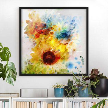 Poster con cornice - Watercolor Sunflowers - Quadrato 1:1