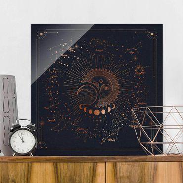 Quadro in vetro - Astrologia Sun Moon And Stars Blue Gold - Quadrato 1:1