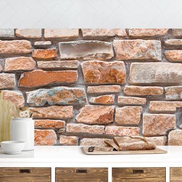 Rivestimento cucina - Effetto pietra rossa consumata in turchese