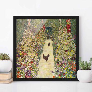 Poster con cornice - Gustav Klimt - Garden Path With Chickens - Quadrato 1:1