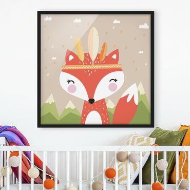 Poster con cornice - Indians Fox - Quadrato 1:1