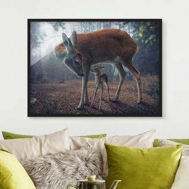 Poster con cornice - Mother And Fawn - Orizzontale 3:4