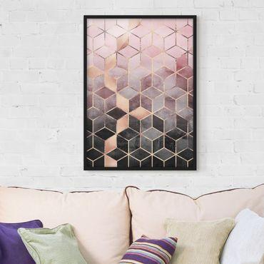 Poster con cornice - Rosa Grigio d'oro Geometria - Verticale 4:3