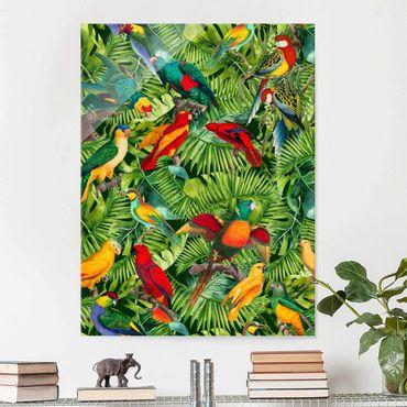 Quadro in vetro - Colorato collage - Parrot In The Jungle - Verticale 4:3