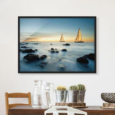 Poster con cornice - Sailboats In The Ocean - Orizzontale 3:4