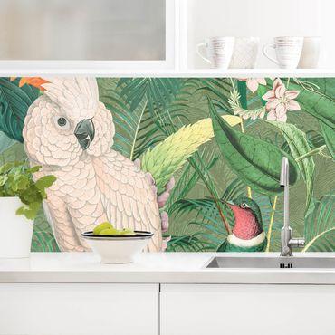Rivestimento cucina - Vintage Collage - Cockatoo E Hummingbird