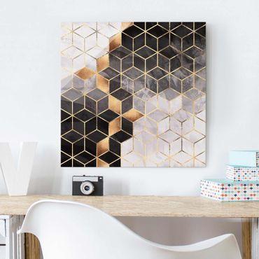 Quadro in vetro - Bianco e oro Geometria Nero - Quadrato 1:1