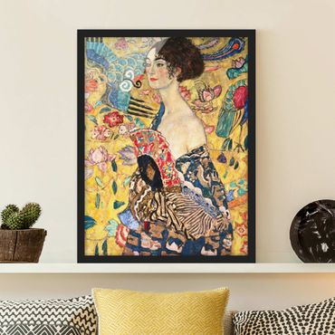 Poster con cornice - Gustav Klimt - Donna con ventaglio - Verticale 4:3