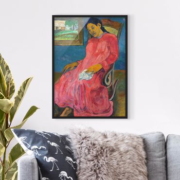 Poster con cornice - Paul Gauguin - Faaturuma (Melancholic) - Verticale 4:3