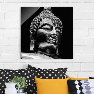 Quadro in vetro - Buddha Statue Viso - Quadrato 1:1
