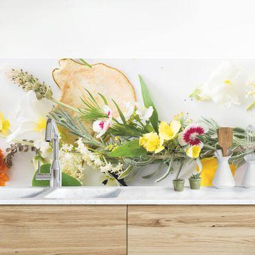 Rivestimento cucina - Erbe Fresche Con Fiori Commestibili