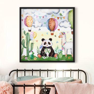 Poster con cornice - Panda And Lama Watercolor - Quadrato 1:1