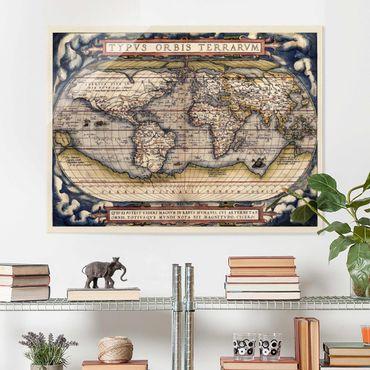 Quadro in vetro - Historic tipo World Map Orbis Terrarum - Orizzontale 3:4
