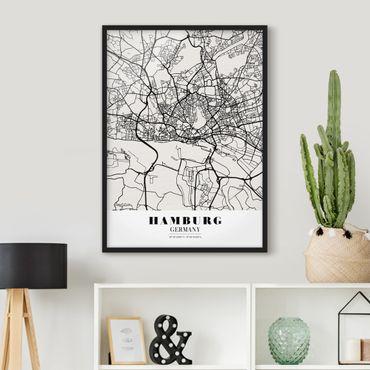 Poster con cornice - Hamburg City Map - Classic - Verticale 4:3