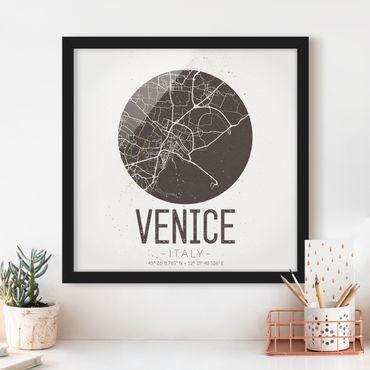 Poster con cornice - Mappa Venezia - Retro