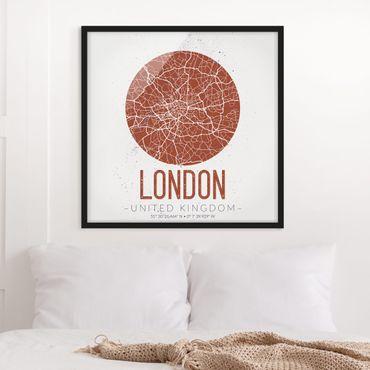 Poster con cornice - Mappa di Londra - Retro