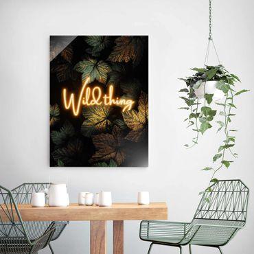 Quadro in vetro - Wild Thing Golden Leaves - Verticale 4:3