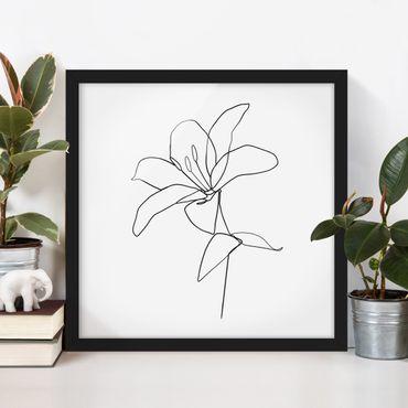 Poster con cornice - Fiore Line Art Nero Bianco - Quadrato 1:1