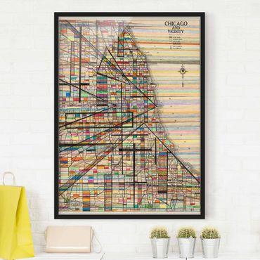 Poster con cornice - Mappa Moderna Di Chicago - Verticale 4:3