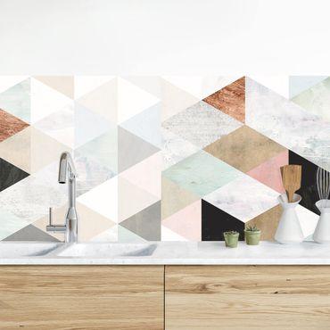 Rivestimento cucina - Mosaico in acquerello con triangoli I