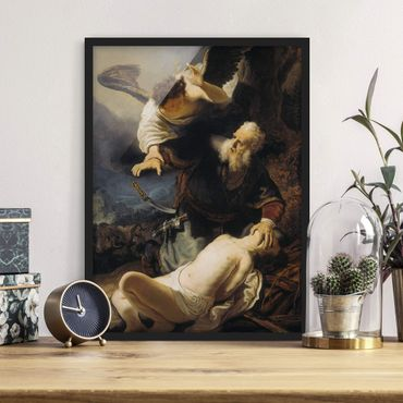 Poster con cornice - Rembrandt Van Rijn - The Angel Prevents The Sacrifice Of Isaac - Verticale 4:3