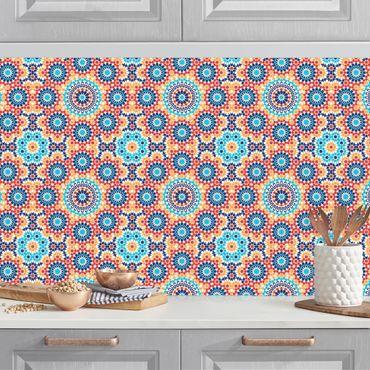 Rivestimento cucina - Motivo orientale con fiori colorati