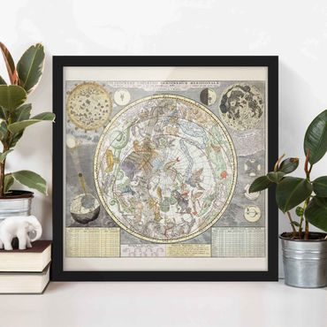 Poster con cornice - Vintage Ancient Mappa Stellare - Quadrato 1:1