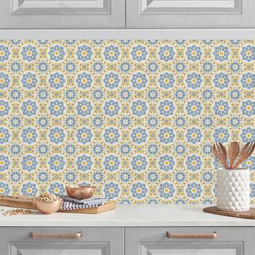 Rivestimento cucina - Mosaici floreali blu giallo