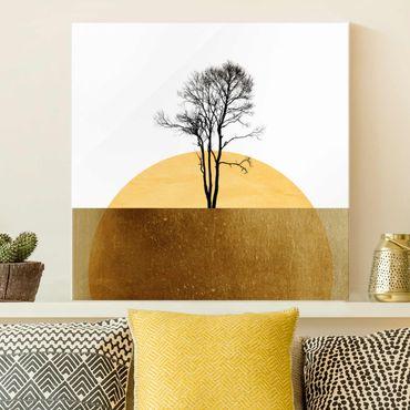 Quadro in vetro - Sole dorato con albero - Quadrato 1:1