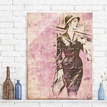 Quadro in vetro - Vintage Collage - Parisienne - Verticale 4:3