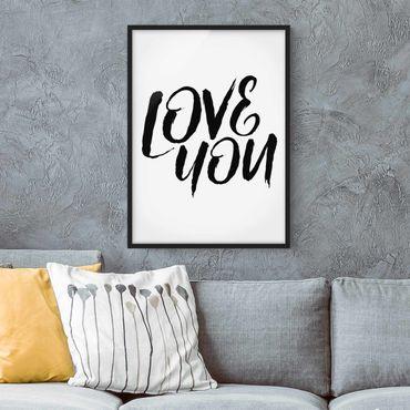 Poster con cornice - Love You - Verticale 4:3