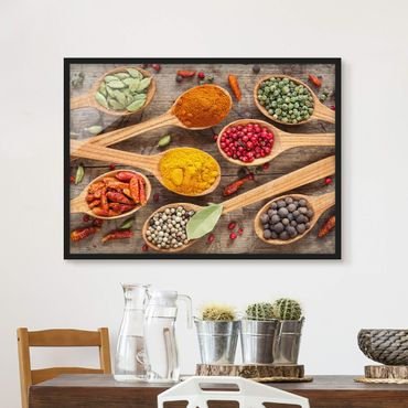 Poster con cornice - Spices On Wooden Spoon - Orizzontale 3:4