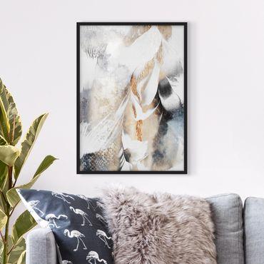 Poster con cornice - Oro pittura astratta inverno - Verticale 4:3