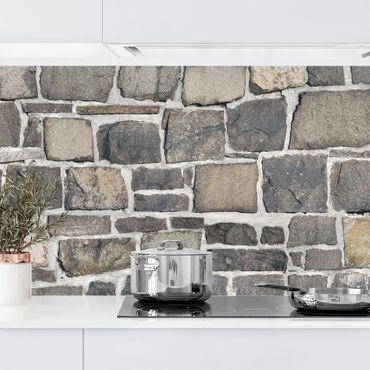 Rivestimento cucina - Effetto muro di pietre naturali