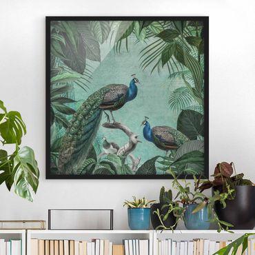 Poster con cornice - Shabby Chic Collage - Noble Peacock - Quadrato 1:1